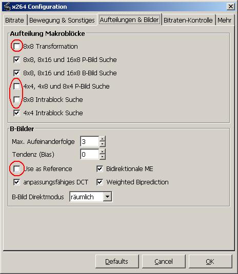 Adjusting the X264 codec